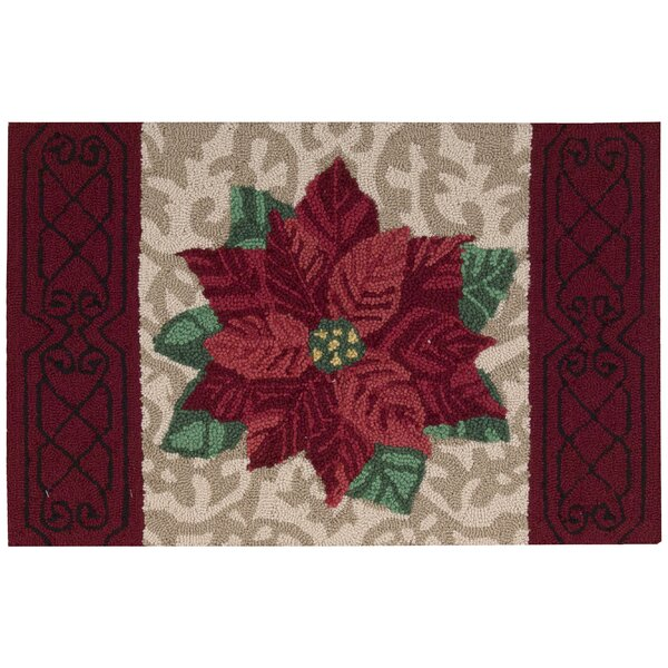 Christmas Hand Hooked Beige/Red Area Rug by Waverly