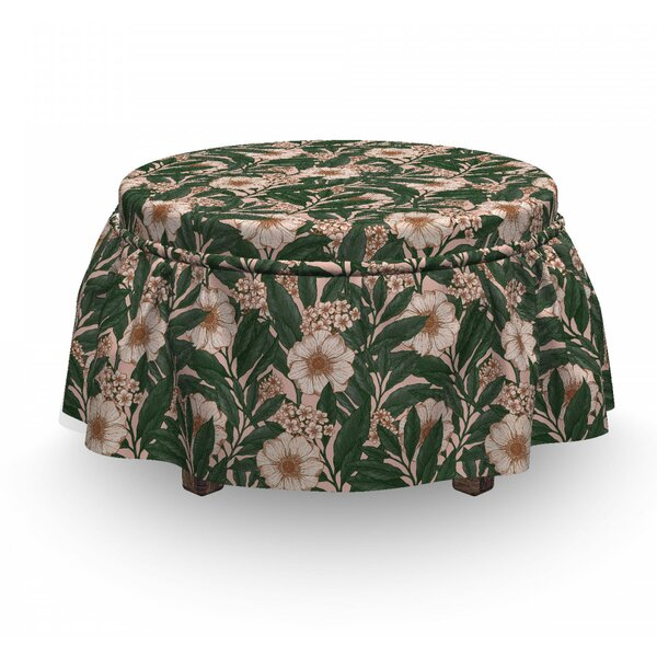 Anemone Plant Ottoman Slipcover (Set Of 2) By East Urban Home