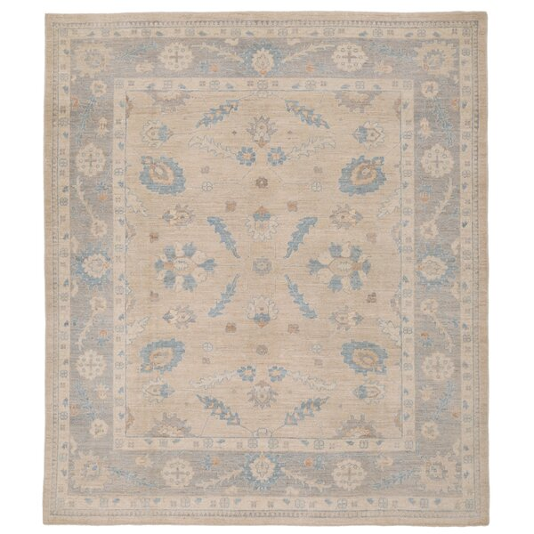 Vegetable Dye Hand-Knotted Ivory Area Rug by Herat Oriental