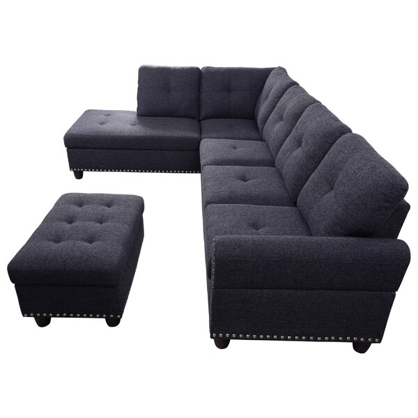 New Style Ricka Sectional with Ottoman by Rosdorf Park by Rosdorf Park