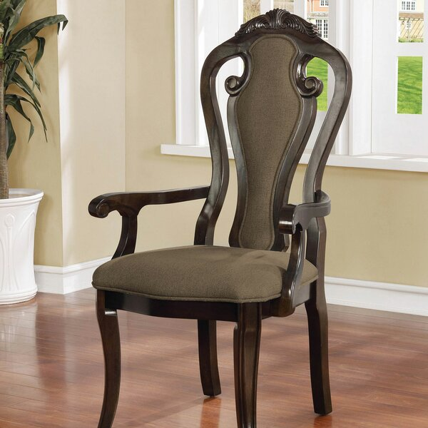Ellington Upholstered Queen Anne Back Arm Chair In Walnut (Set Of 2) By Astoria Grand