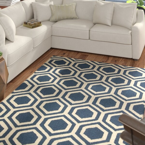 Aidyn Hand-Knotted Blue/Ivory Area Rug by Mercury Row