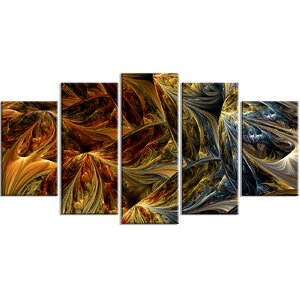'Molten Abstract' 5 Piece Graphic Art on Wrapped Canvas Set by Latitude Run