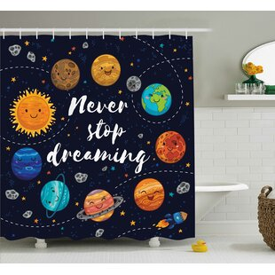 Top Reviews Pauline Quotes Cute Outer Space Planets and Star Cluster Solar Moon and Comets Sun Cosmos Image Shower Curtain By Harriet Bee