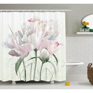Singleton Pink Roses Tulips Abstract Leaves With Petals and Buds Detailed Print Image Shower Curtain