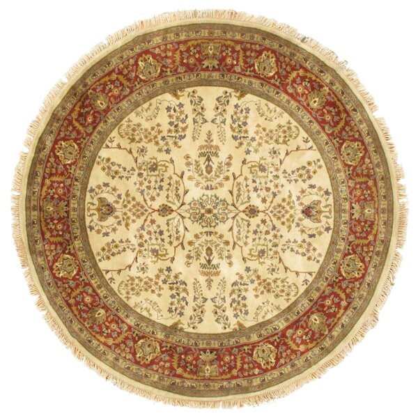 Sarouk Hand-Knotted Wool Ivory/Rust Area Rug by Pasargad NY