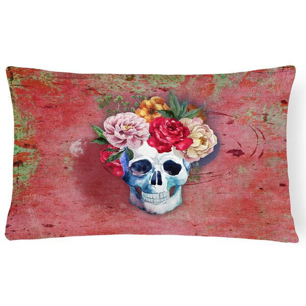Day of the Dead Flowers Skull Lumbar Pillow by East Urban Home