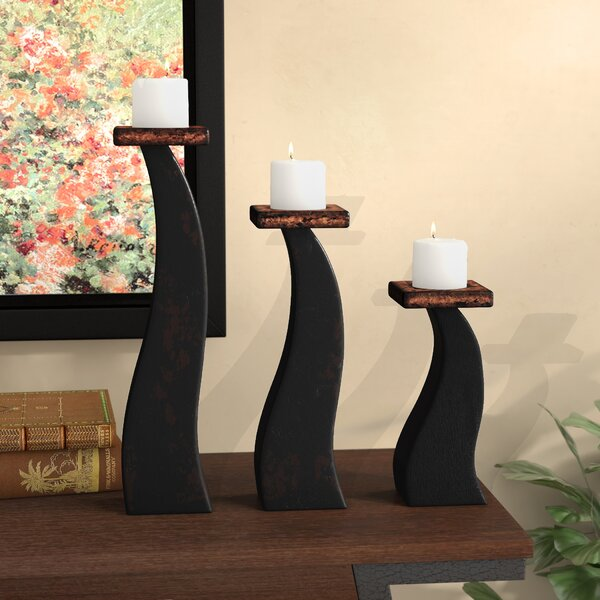Contemporary Wavy 3 Piece Wood Candlestick Set by Winston Porter