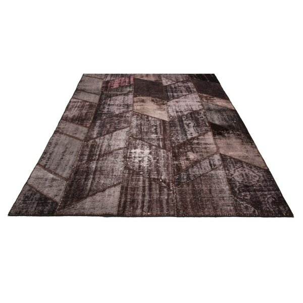 Kellie Patchwork Hand-Knotted Wool Maroon Area Rug by Bloomsbury Market