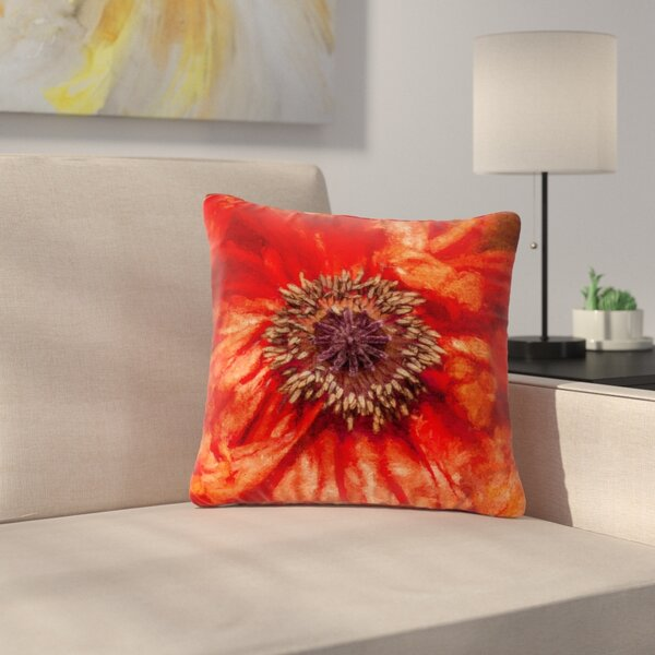 Ginkelmier Poppy Floral Outdoor Throw Pillow by East Urban Home