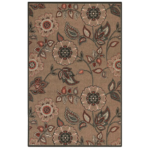 Shannen Floral Vine Tan Indoor/Outdoor Area Rug by Charlton Home