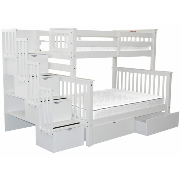 Tena Twin Over Full Stairway Bunk Bed with Drawers by Harriet Bee