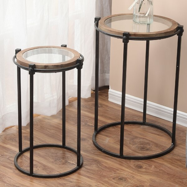 Hollard 2-Piece Metal And Glass End Table (Set Of 2) By Gracie Oaks