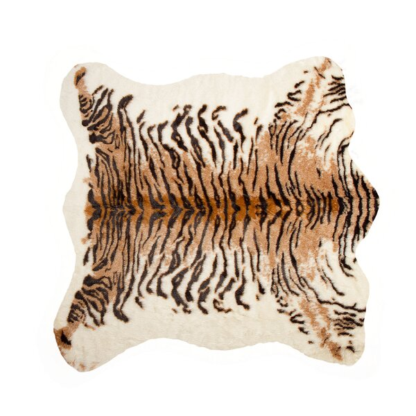Natural Tiger Faux Cowhide Brown/Black Area Rug by Luxe