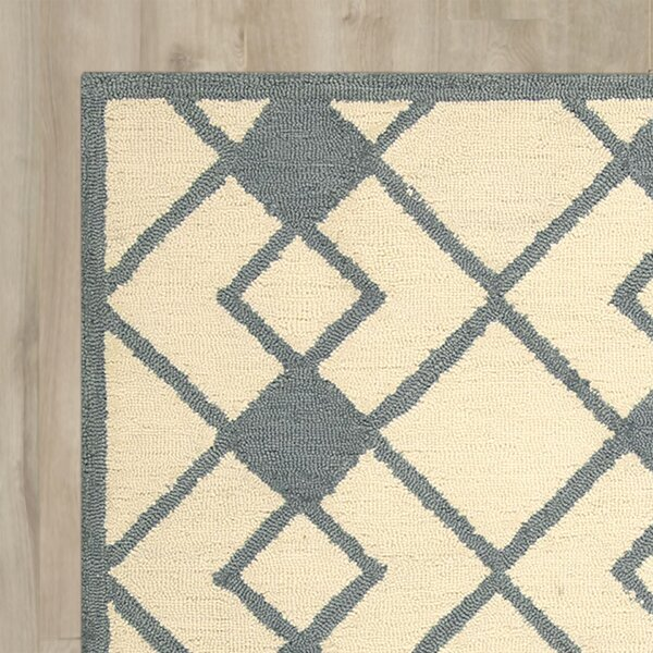 LaGuardia Hand-Tufted Ivory/Blue Area Rug by Wrought Studio