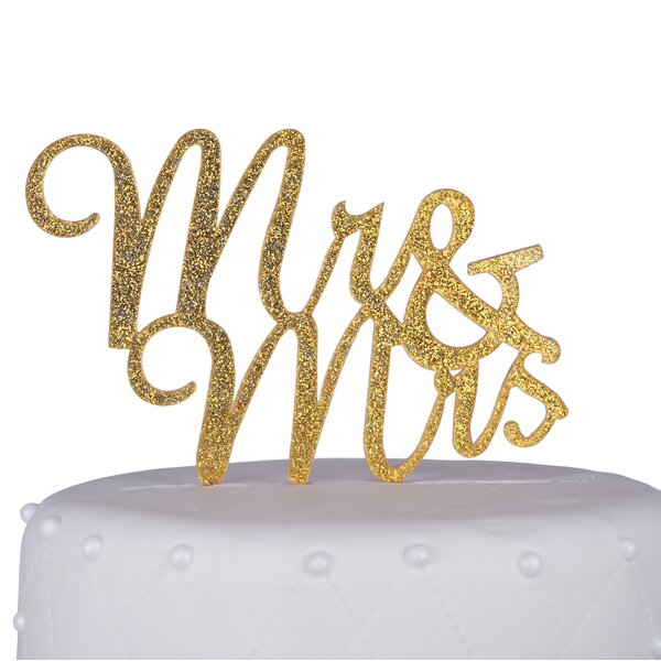Mr. & Mrs. Script Acrylic Cake Topper by Unik Occasions