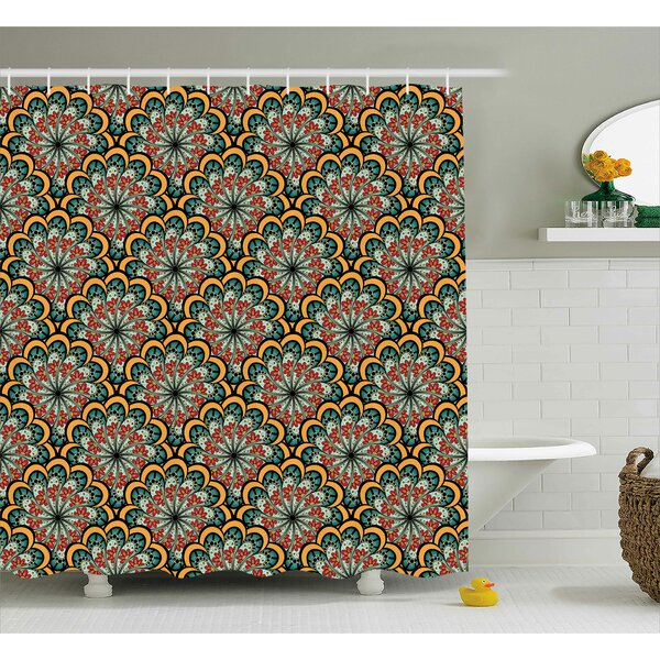 Bautista Indian Moroccan Wave Print Shower Curtain by Bloomsbury Market