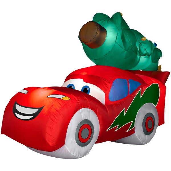 Airblown McQueen with Christmas Tree Large Disney Inflatable by Gemmy Industries