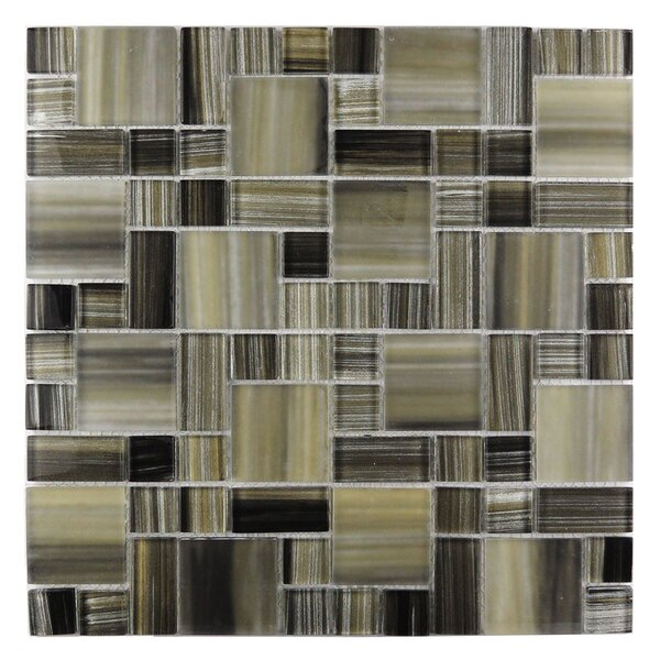 Handicraft II Random Sized Glass Mosaic Tile in Glazed Black sea by Abolos