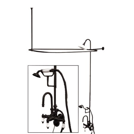 Vintage Volume Control Tub and Shower Faucets with Porcelain Cross Handles by Elements of Design