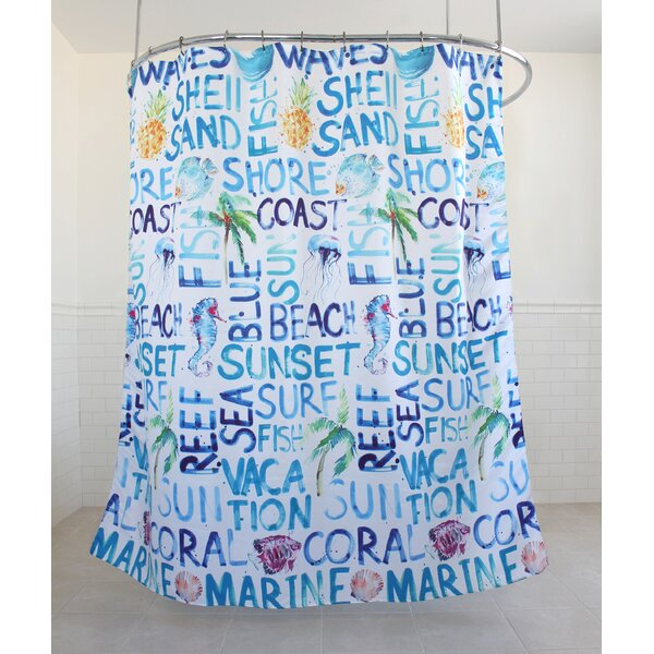 Fountain Coastal Fabric Shower Curtain by Rosecliff Heights