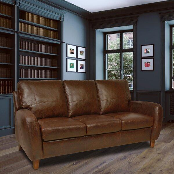 Oaks Leather Sofa by Loon Peak