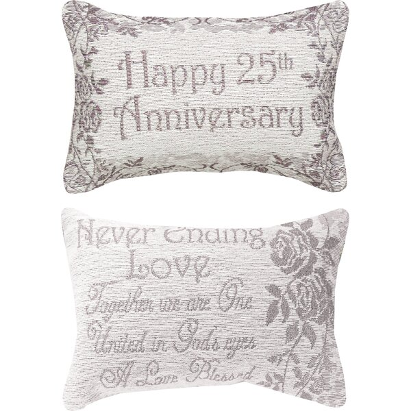 25th Anniversary Word Lumbar Pillow by Manual Woodworkers & Weavers