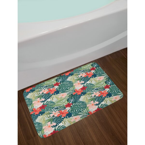 Leaf Summer Beach Holiday Themed Hibiscus Plumeria Crepe Ginger Flowers Non-Slip Plush Bath Rug by East Urban Home