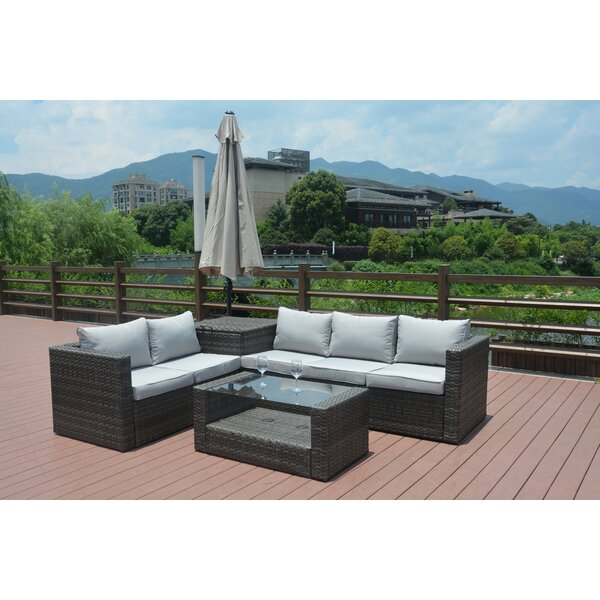 Jazmine 4 Piece Rattan Sofa Set with Cushions by Orren Ellis
