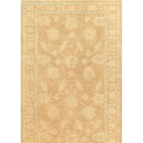 One-of-a-Kind Oushak Hand-Knotted Light brown 10' x 19' Wool Area Rug