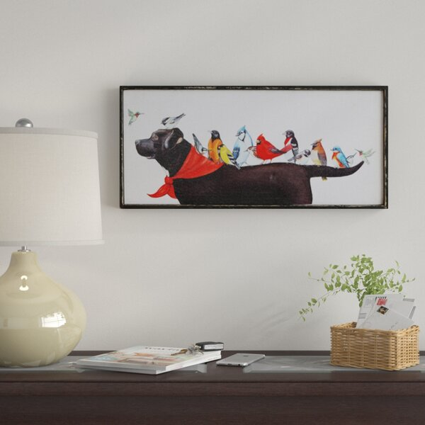 Birds On Dog Framed Painting Print On Canvas By Winston Porter.