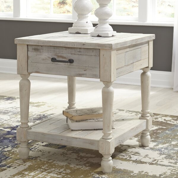 Theron Solid Wood End Table With Storage By Highland Dunes