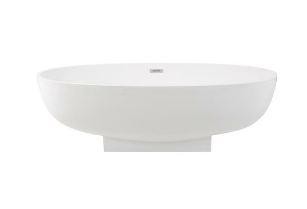 Solid Surface Resin 67 x 31 Freestanding Soaking Bathtub with Internal Drain by Streamline Bath