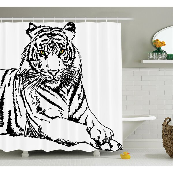 Animal Sketch of Tiger Shower Curtain Set by Ambesonne