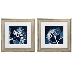 Hydrangeas Neg 2 Piece Framed Graphic Art Set by Darby Home Co