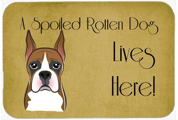 Boxer Spoiled Dog Lives Here Kitchen/Bath Mat by Caroline's Treasures