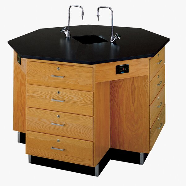 Octagon Workstation with Drawer Base and Gas/Water Fixtures by Diversified Woodcrafts