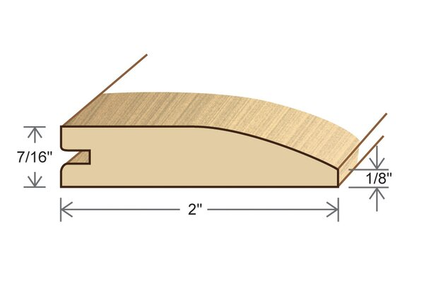 0.44 x 2 x 78 Solid Red Oak Reducer by Moldings Online