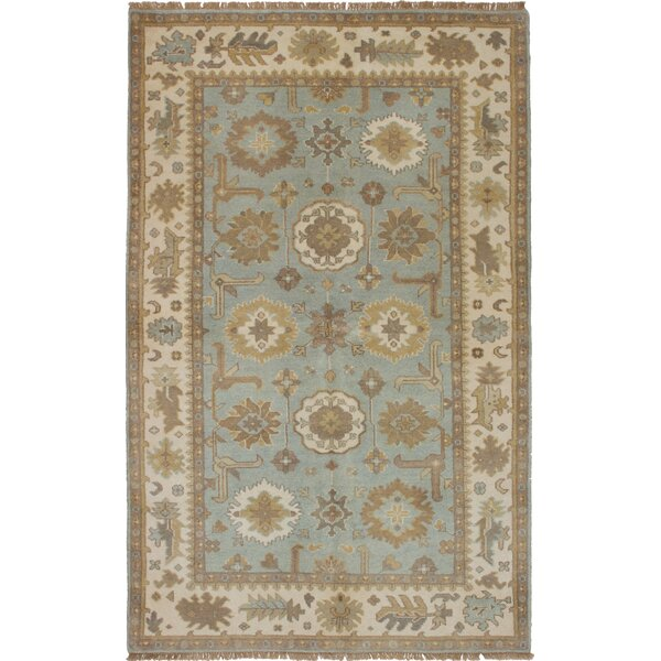 One-of-a-Kind Eile Hand-Knotted Wool Light Blue Area Rug by Isabelline