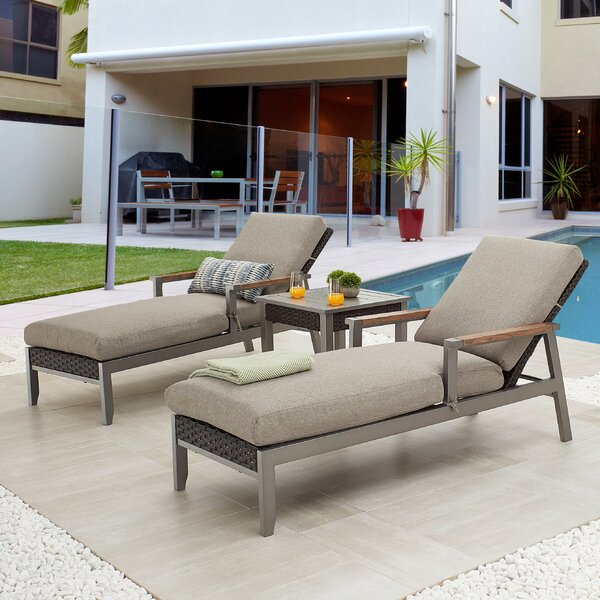 Seren Sun Reclining Chaise Lounge with Cusion and Table by Latitude Run Latitude Run