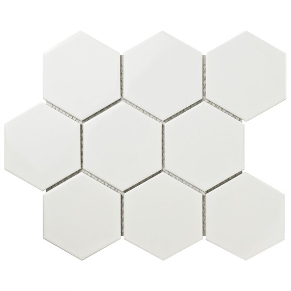 Retro Super Hex 3.73 x 3.73 Porcelain Mosaic Tile in Glossy White by EliteTile