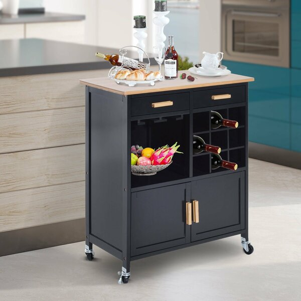 Elliot Stemware Storage Kitchen Cart by Winston Porter