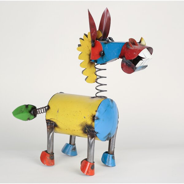 Medium Recycled Metal Springy Donkey Statue by My Amigos Imports