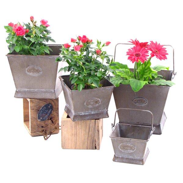Square 4-Piece Iron Pot Planter Set by Zaer Ltd International