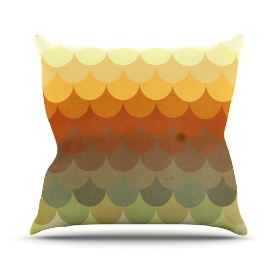 Half Circle Waves Color Outdoor Throw Pillow by East Urban Home