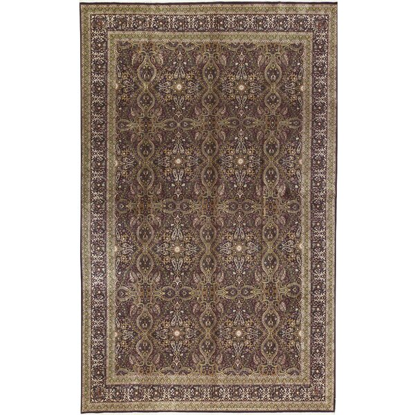 One-of-a-Kind Shah Hand-Knotted Aubergine/Beige 11'9 x 17'9 Wool Area Rug