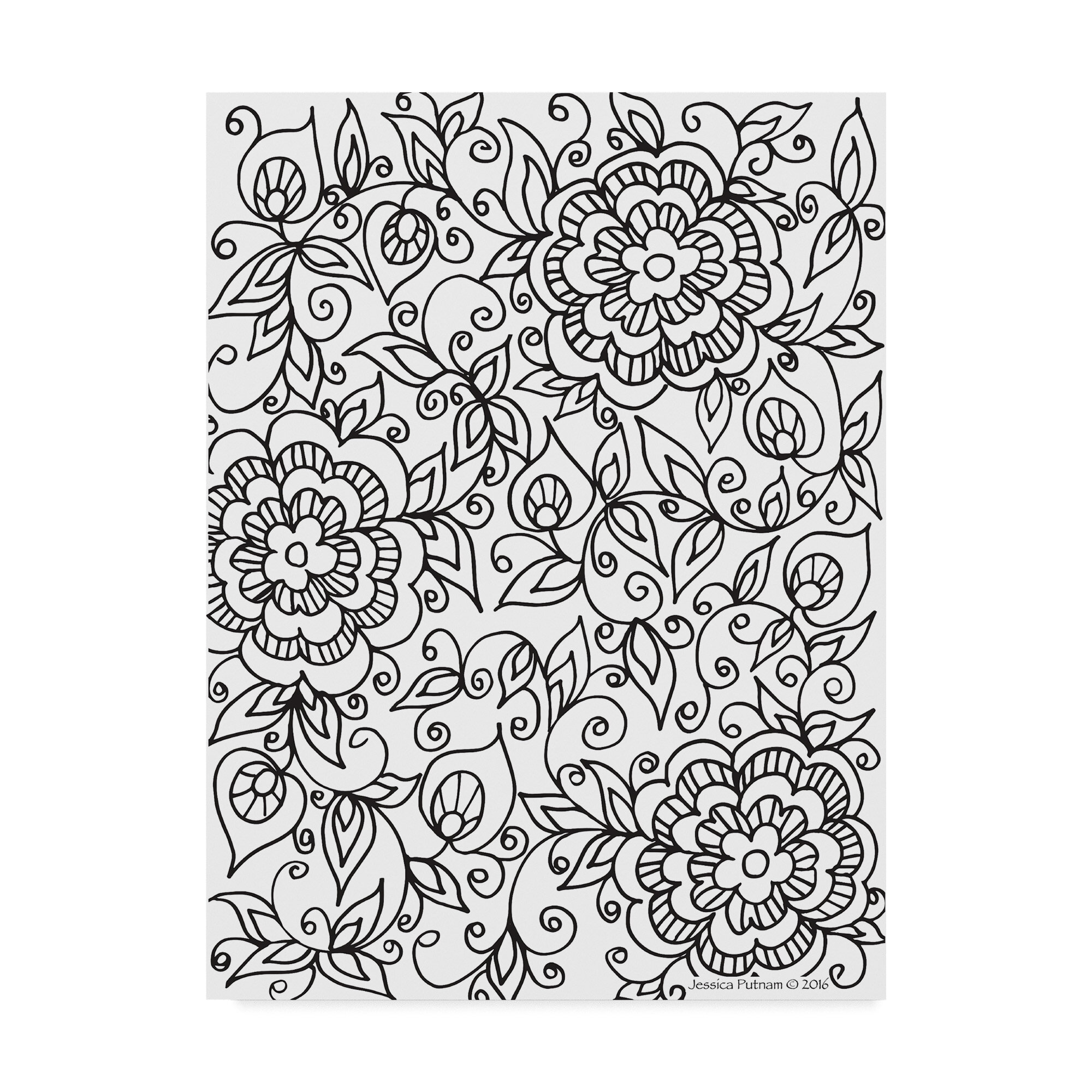 Trademark Art Floral Patterns 9 Drawing Print On Wrapped Canvas