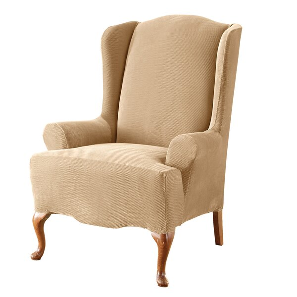 Compare Price Stretch Pique T-Cushion Wingback Slipcover