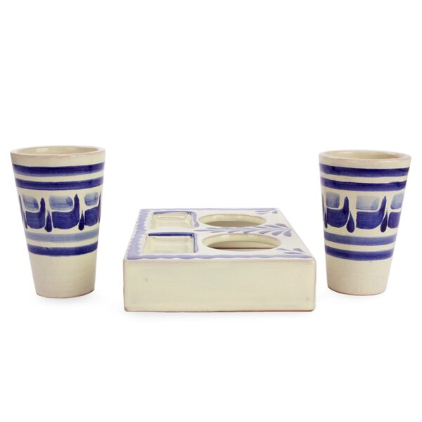 Gotcher Agave Majolica 2 oz. Ceramic Every Day Glasses (Set of 2) by Bloomsbury Market