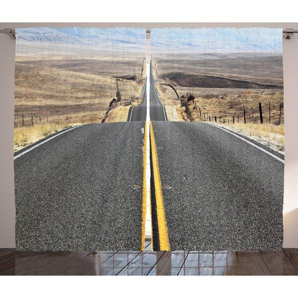Endless Desert Landscape Graphic Print Room Darkening Rod Pocket Curtain Panels (Set of 2) by East Urban Home